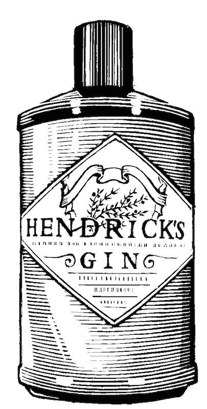 Hendrick's_1381_hi Flasche Zeichnung